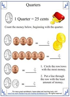 Learn how to identify quarters (front and back) and make change with these counting money worksheets. Find coin games, activities and more money worksheets. Counting Money Worksheets, Reading Worksheets, Activities For 1st Graders, Fact Families, Coin Values, Free Math, First Grade Math, Math For Kids, Coins