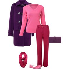 Winters look amazing in bright pink... and a deep winter can handle an intense deep pink. I paired this pink with a deep red and deep purple for a stunning look. This color combination comes straight from the deep winter color palette. The 3 colors are next to each other on the color wheel creating