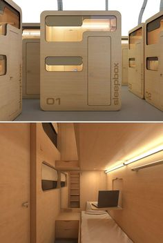 The Sleepbox, designed by Russian architecture firm, Arch Group, is a halfway point between a Japanese capsule room and a small hotel room. Tiny and designed to be used at airports and railway stations, MDF veneer structure houses enough space for up to three single beds and even a fold out desk for laptop users to get some work done (valuable outlets available for charging up) after a refreshing nap between flights.