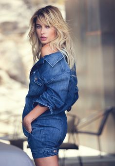 Wearing a denim look, Hailey Baldwin smolders in Guess holiday 2016 campaign