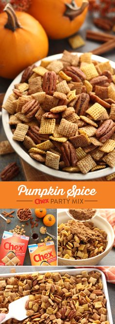 Made with Honey Nut and Cinnamon Chex, Pumpkin Spice Chex Mix is the perfect fall recipe for any occasion this season. Ready to serve in just 15 minutes and with just 8 ingredients, Pumpkin Spice Chex Mix will keep you out of the kitchen and celebrating t Pumpkin Recipes, Fall Recipes, Holiday Recipes, Pumpkin Spice Chex Mix Recipe, Pumpkin Dishes, Holiday Foods, Christmas Recipes, Thanksgiving Recipes, Chex Mix Recipes