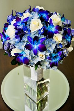 Absolutely love this bluish-purple combo! Blue Bridal Bouquets from Twinbrook Floral Design