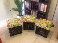 DIY Milk Crate Seats – Teacher on Training Wheels Milk Crate Bench, Milk Crate Furniture, Crate Stools, Crate Ottoman, Milk Crate Storage, Toy Storage Bins, Crate Table, Storage Stool, Toy Bins