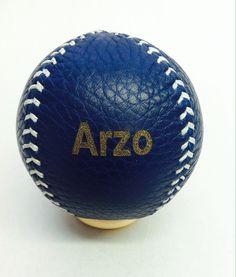 Engraved Blue Leather Baseball Lemon ball  Blue leather, Baseball, white stitch, custom baseball