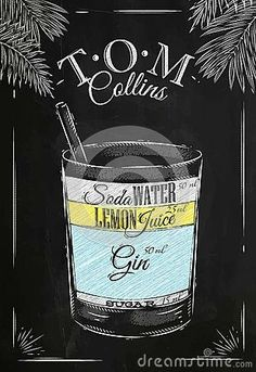 Stock Vector Tom Collins cocktail in vintage style stylized drawing with chalk. – Cocktails and Pretty Drinks Bar Drinks, Yummy Drinks, Alcoholic Drinks, Beverages, Cocktail Shots, Cocktail Party Food, Tom Collins Cocktails, Tom Collins Drink, Cocktails Drawing