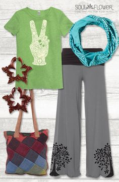 Relaxed hippie weekend outfit #ecofriendly #organic #fairtrade #ethicallymade @soulflowerbuds