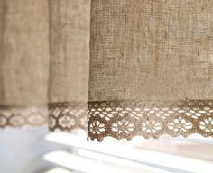 Afbeeldingsresultaat voor cortinas lienzo y crochet