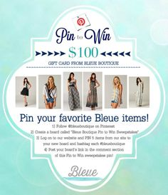Pin to Win a $100 gift certificate from Bleue! See this photo/pin for details on how to enter!  Leave the link to your board in the comments below. ONE lucky will be picked! Ends March 8, 2014  www.shopbleue.com