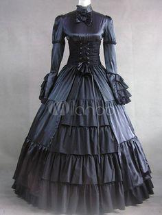 Gothic Victorian Lolita Black Satin Long Dress