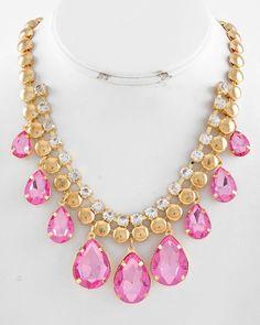 Gold Tone / Pink Acrylic & Clear Rhinestone / Lead Compliant / Teardrop Graduating / Necklace