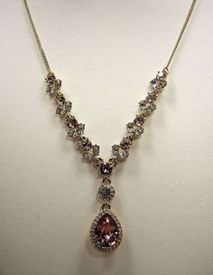 Givenchy Blush Pink Rose Crystal Teardrop Gold Tone Y Necklace MSRP $78...Only $57.99 with free shipping!  #Givenchy #Statement
