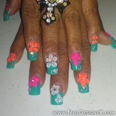 flower acrylic 8 nail design