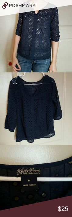 Lucky Brand eyelet top Lucky Brand navy eyelet top. Super cute! Elastic at ends of 3/4 sleeves. Like new. Lucky Brand Tops Blouses