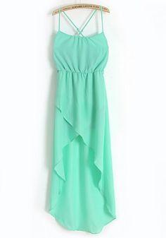 Green Irregular Condole Belt Sleeveless Chiffon Dress