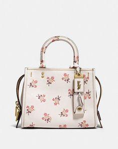 Coach Rogue 25 With Floral Bow Print - Chalk/Brass Leather Satchel Handbags, Coach Handbags, Coach Purses, Purses And Handbags, Coach Bags, Disney Handbags, Leather Luggage, Coach Rogue, Cute Purses