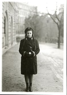 Budapest, mum in school-uniform in front of our home (on the left). Castle District, Buda, Royal Palace and War Office in the background. Taken by grandpa, as always. Old Photos, Vintage Photos, Budapest, School Uniform, Vintage Photography, Photo And Video, Black And White, People, Hungary