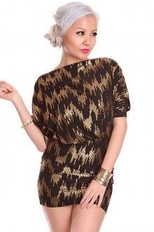 Black Gold Sequin Detailing Dolmen Sleeves Cut Out Back Chic Dress Vegas Dress