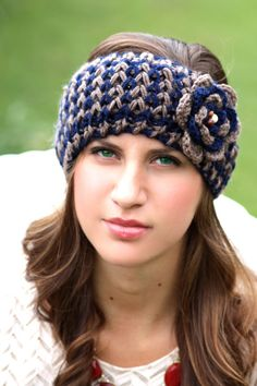 Headband - Large Flower,Navy Blue, Tan, Brown , Wood Beads, Knitted , Crochet, Knit ,infinity, Wide Headband, Turban, Christmas Gift Ask a Question    $26.00 USD