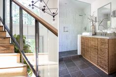 One of our recently completed projects: zen bath, custom design staircase, custom bath, marble tile shower, custom vanity, textured vanity, glass staircase, tranquil design,  http://kishaniperera.com/construction/