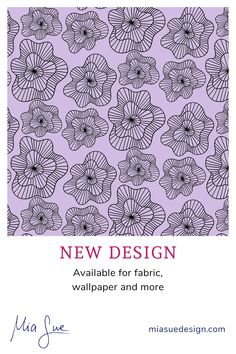 Lavender lilac colorway of Ruffle roses print   shop fabric and wallpaper online   find more designs by Mia Sue at miasuedesign.com Lilac, Lavender, Wallpaper Online, Surface Pattern Design, Creative Studio, Roses, Artist, Shop, Fabric