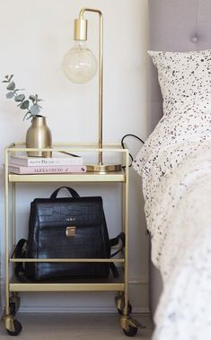 Alternative Bedside Tables {Rock My Style} Gold Bar Cart Used As A Bedside Table - Image From Swoon EditionsGold Bar Cart Used As A Bedside Table - Image From Swoon Editions Bedroom Inspo, Home Bedroom, Bedroom Decor, Modern Bedroom, Bedroom Bar, Bedroom Ideas, Bedrooms, Wall Decor, My New Room