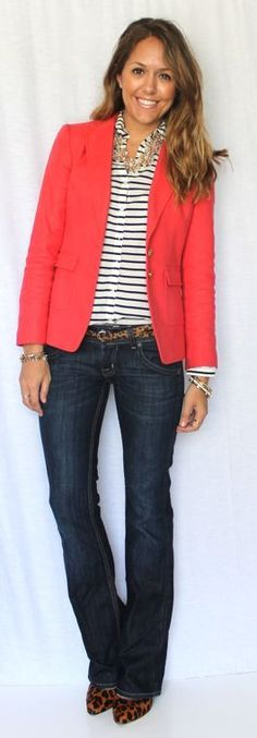 Like this top half, but I'd have to wear black pants with it to work... stripped top, blazer, leopard and jeans