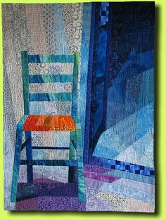 Der blaue Stuhl (2008) (The Blue Chair) by Regina Grewe (Germany). Based on a photograph taken on vacation in Greece.