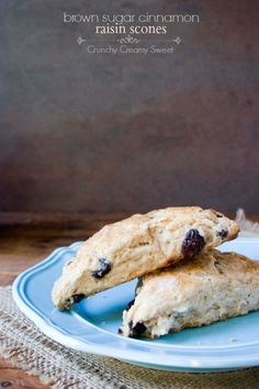 Brown Sugar Cinnamon Raisin Scones by Crunchy Creamy Sweet... | The perfect addition to your morning cup of coffee or afternoon tea.