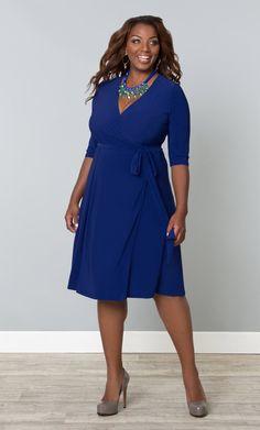 Essential Wrap Dress at Kiyonna Clothing