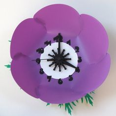 Purple 3D Wall Clock Laser Cut Anemone Flower by TheWoodenTractor, $30.00