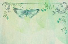 Beautiful,water color,hand painted,green,mint,butterfly,flowers