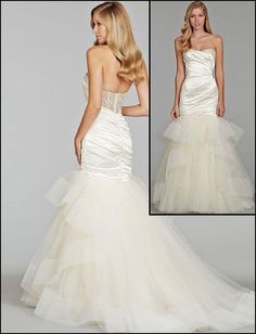 Mermaid Wedding Dresses : Full Stretch Satin & Tulle & Satin Mermaid Wedding Dress 2014 Natural Wa