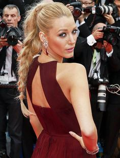 Blake Lively in braid hairstyle and Gucci pleated back cutout burgundy gown at the 'Grace of Monaco' premiere, and opening ceremony of the 67th Annual Cannes Film Festival 2014 #Canne2014 #Cannes2014