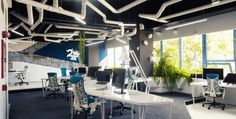 Brilliant Contemporary Office Space Idea Featuring the Unique Concept: Stylish And Creative Pipes Ceiling Design For Office Project Ezzo Des. Modern Office Design, Contemporary Office, Office Interior Design, Office Interiors, Interior Design Inspiration, Design Ideas, Bureau Design, Workspace Design, Office Workspace