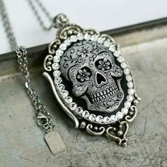 Sugar Skull Cameo Necklace by Diamonds and Coal.. Purchase here: http://etsy.me/1GXhBy3 Horrific Finds