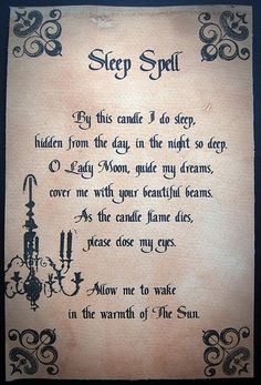 sleep spell -- I wish this would really work!