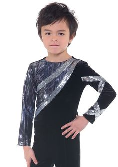 Flamboyant purple and white tie dye inspired patterned black long sleeve skate top with geometric silver lines for added glitz. Figure Skating Competition Dresses, Figure Skating Outfits, Figure Skating Costumes, Skate Shirts, Dance Shirts, Skater Tattoos, Skate Style, Skate Wear, Dance Leotards