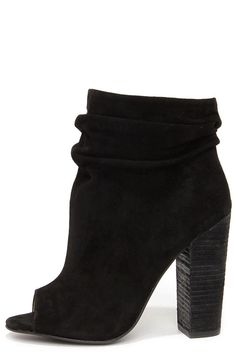 Kristin Cavallari Chinese Laundry Laurel - Black Suede Booties - Peep Toe Booties - $149.00