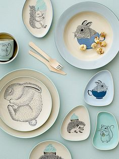 Bloomingville Mini Illustrated Plates and Dishes Pottery Painting, Ceramic Painting, Ceramic Art, Kitchenware, Tableware, Deco Table, Kids Decor, Ceramic Pottery, Mini