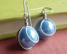 Turquoise Sky Blue Glass Marble Earrings  by nicholasandfelice, $18.50