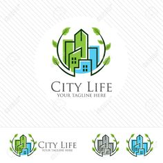 Illustration of Abstract green city building logo design concept. Symbol icon of residential, apartment and city landscape. vector art, clipart and stock vectors. Construction Logo Design, Construction Business, Construction Birthday, Building Logo, Eco City, City Logo, Hipster Logo, Hand Logo, Logo Inspiration