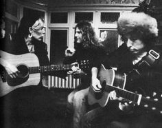 [ Bob Dylan, Joni Mitchell and Roger McGuinn with Gordon Lightfoot as his home in Toronto. November 30, 1975 #tumblr