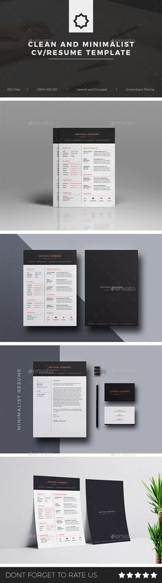 Clean and Minimalist CV / Resume Template - Print Templates