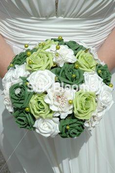 Ivory, White Green Wedding Bouquet,Ivory Green Wedding Flowers