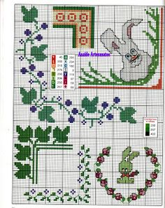 Anaide Ponto Cruz: Barred graphics in corner cross stitch.