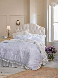 Cute Headboard and Lilac Linens