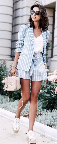 Blue and white vertical striped co-ord suit outfit | tie waist shorts and blazer | spring and summer look for business casual or chic street style