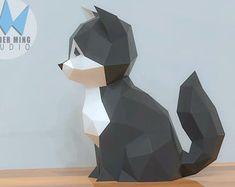 View Cat & Dog by WonderMingStudio on Etsy 3d Paper Crafts, Paper Toys, Diy Paper, Paper Art, Disney Crafts, Disney Art, Plastic Design, Cat Statue, Cat Party