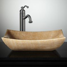 Libera Rectangular Honey Onyx Vessel Sink