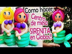 COMO HACER UN CENTRO de MESA SIRENITA EN GLOBOS DIY Sirena in balloons - YouTube